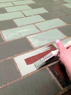 painted cement floor | How To Paint a Faux Terra Cotta ...