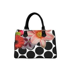 Black Circles & Flowers Boston Handbag (Model 1621) - This beautiful, elegant, and intricate design will look simply wonderful on your favorite Color Me Girly product. - flowers, flower, floral, girly, botanical, polka dots, polka dot, circle, circles, dots, dot, print, pattern, design