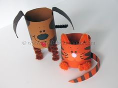 Cardboard Tube Dog and Cat via Crafts by Amanda