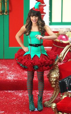 59a64a0caf2a Lea Michele looked adorable in her elf costume on the Christmas episode of  Glee :)