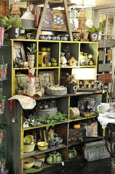 Garden and bird finds..  Big shelf display..crates..pop cases...  wire baskets..cubbies