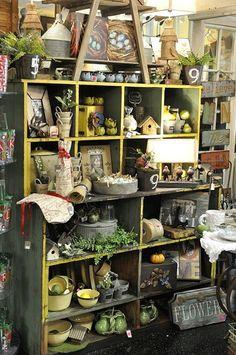Garden and bird finds..  Big shelf display..crates..pop cases...  wire baskets..cubbies