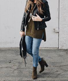 H&M Jacket & Sweater / Paige Denim / Forever21 Olive Suede Booties / Rebecca Minkoff Fringe Clutch