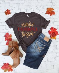 Thanksgiving Shirt - Fall Shirt - Fall Shirts for Women - Grateful Thankful and Blessed - Shirts with sayings - Shirts for women - Comfy Tee Fall Shirts, Mom Shirts, Cute Shirts, Jesus Shirts, Fall Outfits, Cute Outfits, Preppy Outfits, Work Outfits, Blessed Shirt