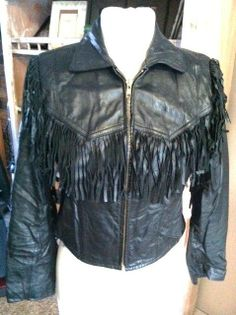 Sexy Retro 80's  Hipster BlackLeather coat with fringe by Berman's Size 8