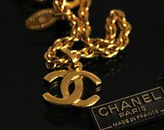 Vintage CHANEL Gold Logo Chain  Necklace Jewelry Jewellery Express Shipping 1990-92. $399.99, via Etsy.