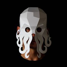 Geometric low poly papercraft Octopus animal paper mask by Ntanos Octopus Crafts, Cute Octopus, Cthulhu, Paper Mask, 3d Paper Crafts, Animal Masks, Diy Mask, Kirigami, Halloween Masks