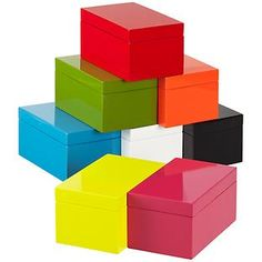 The Container Store > Medium Lacquered Rectangular Box Hold q tips and puffs on acrylic bathroom shelf  $15