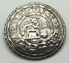 Vtg Mexican Sterling Silver Pendant Brooch Aztec Mayan Calendar Dancing Warrior  #CG
