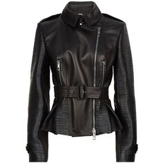Burberry London Brinkburn Leather Biker Jacket (3,430 CAD) ❤ liked on Polyvore featuring outerwear, jackets, moto jacket, motorcycle jacket, biker jacket, burberry and asymmetrical zip jacket