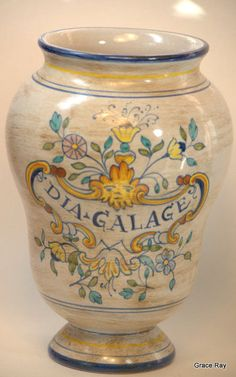 Vintage Italy Pottery Hand Painted DIA GALAGE Vase signed RDK