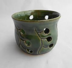 Pottery Candle Holder, Ceramic Candle Holder, Luminaries with Leaf Holes, Small in Green
