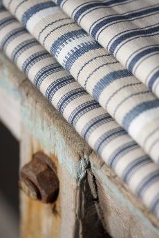 Blue & White Striped Ticking Fabric ....