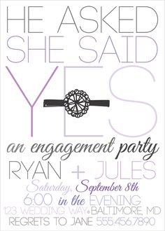 purple engagement party invites, engagement party invitations, grey and purple bridal shower invites, wedding shower invitations via party box design