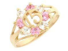 A Quinceanera may be given a ring to symbolize the circle of life. Here& an example of a Yellow Gold Pink and White CZ Birthstone 15 Anos Quinceanera Ring Quinceanera Planning, Quinceanera Party, Quinceanera Dresses, Quinceanera Decorations, 15 Rings, Quince Dresses, 15 Dresses, Accesorios Casual, Sweet 15