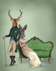 Mr Deer and Mrs Rabbit Poster 14x11 Regency Style Animal Art Print, Jane Austin Style Print, Deer illustration on Etsy, 28,14 €