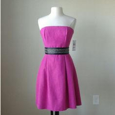 Strapless pink belted a line dress Black studded belt not included, 58% cotton, 42% rayon, bodice has bustier construction with boning, hidden pockets on each side, bust 36.5 inches, waist 31 inches, length 31 inches Tommy Hilfiger Dresses Strapless