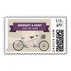 Linen Style Plum Tandem Bicycle Wedding Postage Stamp