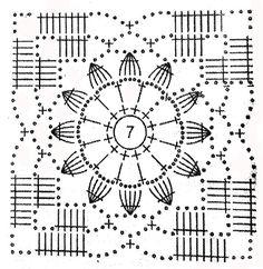 Crochet Mandala Pattern, Crochet Diagram, Doily Patterns, Crochet Squares, Crochet Granny, Crochet Doilies, Crochet Flowers, Crochet Patterns, Motifs Granny Square