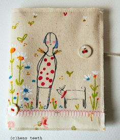Hens Teeth hand painted and screen printed needle case