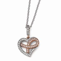 Sterling Silver Rose Gold-plated CZ Awareness Ribbon Heart Necklace