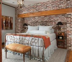 Brick wall in bedroom | brick wall – always a charming décor feature in any room