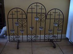 Iron Fireplace Screen with Candle Holders 3 Crosses 12 Candles | eBay