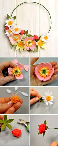 This #DIY #felt flower wreath is just the beginning of inspirational ideas you can discover from #Sizzix. There are a range of #diyproject ideas for you to try at home! - #diecutting #DIYcrafts #felt #felting #feltprojects #DIYflowers #flowers