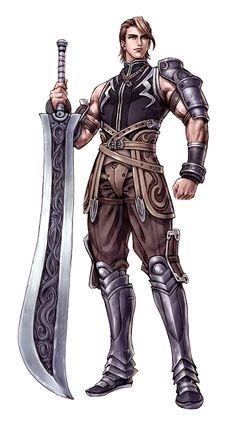 Male Human Falchion Fighter - Pathfinder PFRPG DND D&D d20 fantasy