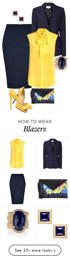 """Yellow / Blue"" by carrie1969 on Polyvore featuring Donna Karan, Christian Louboutin, Reiss, Moschino, Jacquie Aiche, INC International Concepts and Pinko"