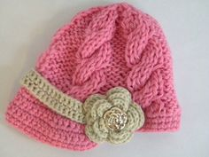SALE Pink Crochet Baby Hat-Newsboy Cap by lulubeanboutique on Etsy