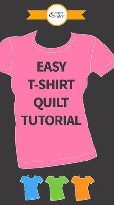 If you have a diverse group of shirts, you can piece smaller shirts together to make larger blocks or combine with cotto T-shirt Quilts, Rag Quilt, Easy Quilts, Quilt Blocks, Quilting For Beginners, Quilting Tips, Quilting Tutorials, Hand Quilting, Craft Tutorials