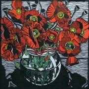 Gail Kellett LINOCUT Field Poppies