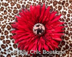 Slayer small flower hair clip by CreepilyChicBoutique on Etsy