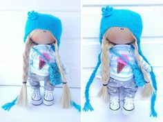 Fabric doll toy Tilda doll Interior doll Art doll blonde aqua colors soft doll Cloth doll handmade doll Love doll by Master Sofia Avramova