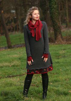 Tunika Winterkleid Lagen-Look grau XS, S, M, L von Basia Kollek auf DaWanda.com