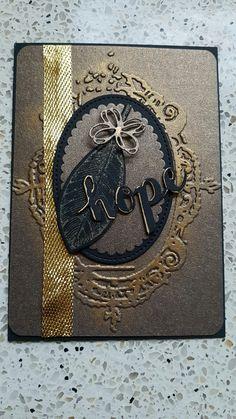 embossingfolder Tim Holtz, leaveset stampin up.  viva decor gold wax. sharpie gold pen.