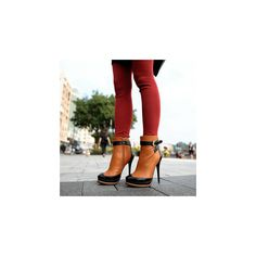 Two-Tone Stiletto Ankle Boots ($43) ❤ liked on Polyvore featuring shoes, boots, ankle booties, footware, buckle ankle boots, vegan boots, high heel boots, platform ankle booties and high heel booties