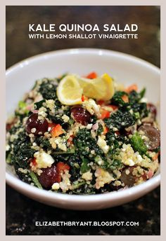 Kale quinoa salad with lemon shallot vinaigrette. Miranda says: Fantastic. An absolutely awesome way to use up some extra kale. Of course, I'm a ginormous fan of quinoa, so I just ate this up, literally. But seriously, awesome stuff!