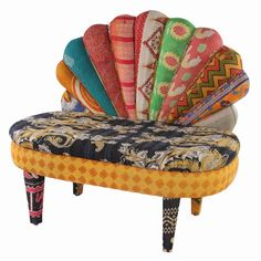Bold peacock-style settee with vintage kantha patchwork upholstery.  Product: SetteeConstruction Material: Vintage Ka...
