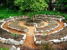 Steninramad nyanlagd rund örtagård