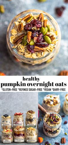 These Pumpkin Overnight Oats are a healthy, gluten free breakfast with all the classic flavors of a delicious pumpkin pie. Made with pure pumpkin, cozy fall spices, hearty old fashioned oats and naturally sweetened with maple syrup. Less than 5 minutes to make and are gluten-free, dairy-free, refined-sugar free and vegan friendly. Freezer-friendly and the perfect make ahead autumn breakfast! #pumpkin #overnightoats #oamealrecipe #pumpkinoatmeal Gluten Free Breakfasts, Gluten Free Desserts, Gluten Free Recipes, Vegan Recipes, Sugar Free Vegan, Gluten Free Oats, Dairy Free, Fall Breakfast, Breakfast Snacks