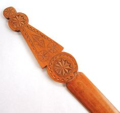 Vintage Scandinavian Chip Carved Letter Opener Wooden Collectible Hand Made Folk Art Desk Accessory