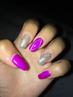 Coffin nails!! #coffinnails #coffin #nails #cute #purple #silver #design #fabulous