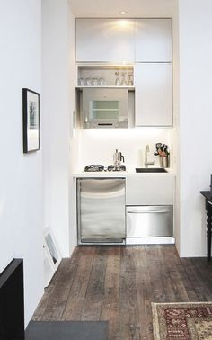 Kitchen:Tiny Kitchen Ideas Super Small Kitchen Concept White Clean Cabinets Polished Stainless Steel Oven Polished Microwave Black Fused Double Cook Tops Polished Stainless Dishwasher Ideas Very Clever Compact Kitchen for Small Apartments Studio Apartments, Small Apartments, Studio Apartment Kitchen, Apartment Design, Micro Apartment, Apartment Ideas, Apartment Checklist, Küchen Design, House Design