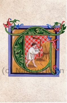 Medieval Illuminated Letter T    This beautifully illuminated letter T is an archival 4 x 6 print of my original artwork, painted in acrylics on