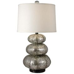 Stacked silver sea urchin table lamp $197.50