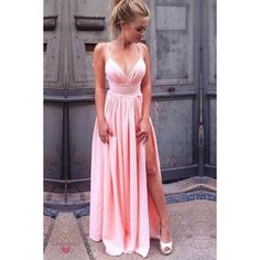 A-Line Spaghetti Straps Pink Pleated Prom Dress with High Split