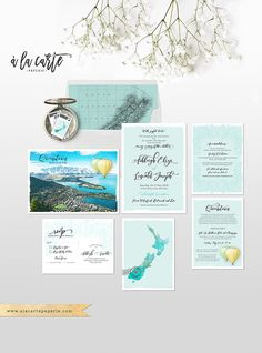 New Zealand Queenstown / Lake Tekapo South Island Destination wedding invitation