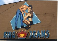 """PHOTOS: The Original """"King of Jeans"""" Sign in South Philly Being Installed in 1994 #philadelphia #southphilly #kingofJeans"""